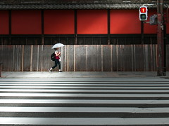 A girl of Kyoto (明遊快) Tags: kyoto japan street lines light shadow red crosswalk woman parasol summer contrast