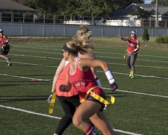 "20180731-Blondes 4th-0098 (kuminiac) Tags: 2018 bvb ""blondes vs brunettes"" blondes blonds blonde blond brunettes brunette ""flag football"" ""alzheimers association"" alzheimers charity ""charity game"" fundraiser football flags athletes offense defense ""kansas city"" women woman game games outdoor sport ""ball"