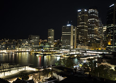 Circular Quay by Night (fantommst) Tags: lisaridings fantommst sydney australia aus au harbour harbor night cityscape urban lights therocks circular quay ferry service dock pier cbd city buildings white bright reflection glow nsw