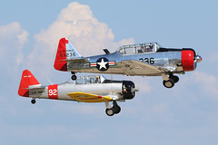 N8FD & N7976A, AT-6 Harvard/Texan, Oshkosh 2018 (ColinParker777) Tags: t6 harvard at6 at6g texan 168340 north american usaf air force classic warbird 93236 united states navy 92 takeoff departure formation display shiny n7976a at6f 12143192 pair duo osh oshkosh kosh eaa experimental aviation association airventure 2018 airplane aircraft military aeroplane plane piston radial engines trainer canon 7d 7d2 7dmk2 7dmkii 7dii 100400 lens pro zoom telephoto wisconsin wi usa