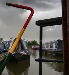 Lightning (chaotic river) Tags: lightning narrow boat marina storm lancaster canal barton grange