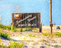 The Mirlo Beach Sign on NC Route 12 in the Outer Banks (PhotosToArtByMike) Tags: mirlobeach outerbanks smalltown obx aerialview marshes dunes sanddunes northcarolina nc outerbanksnorthcarolina seashore capehatterasnationalseashore darecounty