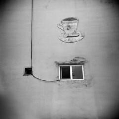 Coffee (LowerDarnley) Tags: holga astoria or oregon coffee sign wire window wall