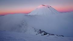 Alpenglow (blue polaris) Tags: new zealand tongariro national park alpine crossing mt mount ngauruhoe alpenglow sunrise winter ice cloud weather landscape volcano