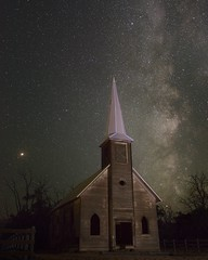 Church Milky Way 9801 D (jim.choate59) Tags: on1pics jchoate church milkyway stars night abandoned rural shermancountyoregon d610 steeple wood ghosttown