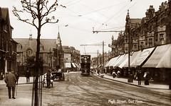 High Street, East Ham (footstepsphotos) Tags: eastham essex london highstreet tram road street shop store people old vintage postcard past historic