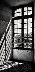 Distant dreams (peter_evans45) Tags: window cobwebs grunge view chateaux decay derelict blackandwhite