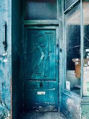 IMG_8425 (Kathi Huidobro) Tags: woodendoor teal aqua doornumber southlondon london londonshops shopfront derelict abandoned entrance stylised texture bespoke 291 doorway door