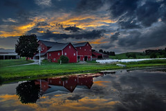 Sunset over the red barns (Alan10eden) Tags: farm buildings barns redsheds usa ohio berlin amish countryside rural pond lake reflection evening sunset alanhopps canon 80d sigma 1770mm landscape sky glow sundown summer radbarns traditional familyfarm pretty picturesque colourful farmscene quintessential agriculture isolated tranquil quiet peaceful walnutcreek