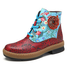 SOCOFY Women Genuine Leather Lace Up Floral Ankle Short Boots (1211380) #Banggood (SuperDeals.BG) Tags: superdeals banggood bags shoes socofy women genuine leather lace up floral ankle short boots 1211380