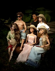 my Barbie Collector family (ArtCat80) Tags: barbiecollector barbie dollsphoto doll ken hungergames artcat katniss finnick jacob twilights plasticpeople summer outdoor handmade sewing knitting dollfashions