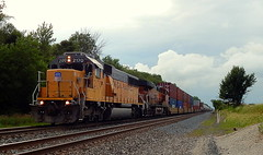 Union Pacific SD60 2170 leading an eastbound near Kendallville Indiana (Matt Ditton) Tags: union pacific sd60 train railroad tracks clouds