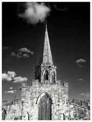 A spire (Develew) Tags: bakewell parishchurch derbyshire derbyshiredates england spire allsaintschurch monochrome bw wb blackandwhite