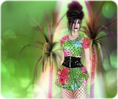 Marisol (ByrneDarkly-www.tartiste.wordpress.com) Tags: swank byrne tropical floral fishnet latex summer fashion secondlife letituier