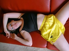 Sexy shorts (Paula Satijn) Tags: sexy hot girl shiny shorts satin silky sensual seductive cute sweet gorgeous pretty adorable yellow erima workout sports babe couch silk friend lady