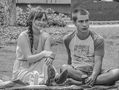 On the Lawn (clarkcg photography) Tags: couple man woman grass lawn blanket summer sit crosslegged braid water box beer portrait blackandwhite blackwhite bw