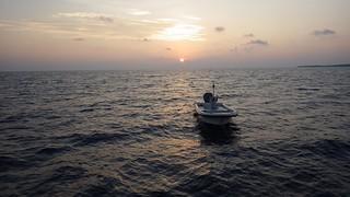 The skiff at dusk