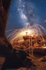 Spinning (KRW_GNS) Tags: adventure astronomy background beautiful camp camping dark fire galaxy high hiking holiday landscape light milky milkyway mountain nature night outdoor sky space spin star stars summer thailand travel under universe way tambonlaongam changwatubonratchathani th