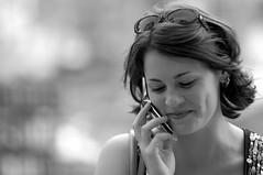 Smile (Mr Inky) Tags: portrait woman newyork d50 prime blackwhite nikon bokeh columbuscircle streetphotos 180mmf28d bokehphotooftheday bokehsoniceaugust bokehsoniceaugust09 httpduclephotographycom