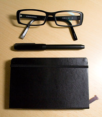 black moleskine glasses sketchbook muji fountainpen confession rodenstock glasswear