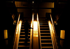 Shine (Pensiero) Tags: man paris reflection gold shadows saintlazare metro steps undergroud