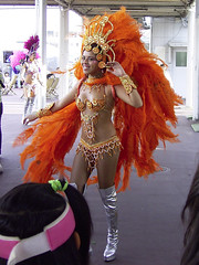 Samba Girls at landing pier (ASL) Tags: trip travel carnival brazil vacation holiday art girl japan brasil lady japanese tokyo pier photo samba 2006 landing sns asakusa ricoh caplio asl