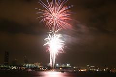 Fireworks show over the San Diego Harbor (kjdrill) Tags: california sky island bay long exposure downtown view sandiego fireworks nightshots coronado