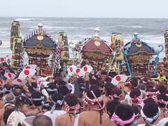 hadaka matsuri - into the water! (michenv) Tags: sea festival japan japanese fan interestingness shrine flag explore chiba  exploreinterestingness ohara  autumnfestival mikoshi   portableshrine    interestingness370 i500 explore30aug06 michenv  michenvexplore over1300views