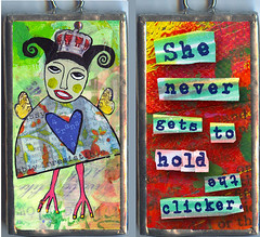 She never gets to hold the clickr. (allisonstrinedesigns) Tags: bird art collage altered children fun whimsy folkart artistic folk outsider mixedmedia funky jewelry charm soul bracelet naive pendant childish naiveart innerchild solder primitive soldered hipbotunsquare allisonstrine