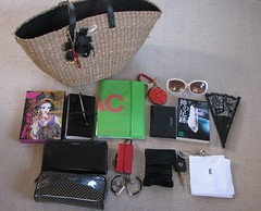 what in my bag ? in Aug (orlando) Tags: summer bag book key comic wallet cigarette diary pouch sunglass ipodnano foldingfan