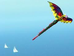 Flying Kite and Sailboats (Jeff Lowe Photography) Tags: kite flying photographer fineart floating pacificocean sailboats peninsula verdes palos lumixfz20 angelsgate mrlowe casualclicks middair jefflowe jeffreyalowe jeffreylowe fineartphotograph httpjeffloweartistwebsitescom