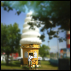 ice cream at the Bluegrass Fair. (tread) Tags: camera summer blur film fun toy holga russia toycamera funky plastic diana colorfilm except4my ourkentucky