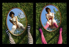 __Diptych Time is Running Out__ (Morgan Fuse) Tags: portraits nadia stripes compositions stripytights silvia nonsense riflessi aliceinwonderland stripy fontanegli bargaggina