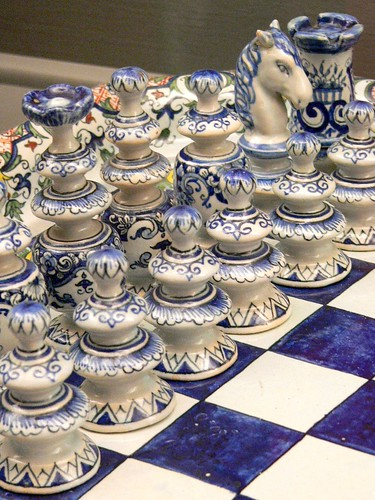 Ceramic Faience chess set in the Regence style France 19th to 20th century CE