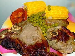 T-bone steak, lamb chop, sausage, grilled tomato, corn and peas. (Vanessa Pike-Russell) Tags: food macro dinner mixed corn vibrant australia grill steak sausages mostinteresting peas lamb chops popular myfaves s5600 foodstyling vanessapikerussellcom vanessapikerussellbest
