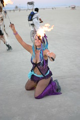 fire dancer on the playa