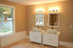 master bath (Love the 214) Tags: ikea floors bathroom cottage 15 views hudson remodel craftsman travertine 3000 favs sinks cabinets 1924 3000views