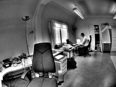 Office: doin' da funky CEO thingy (wili_hybrid) Tags: autumn fall finland geotagged photo yahoo high helsinki flickr dynamic photos picture pic 2006 september fisheye ceo wikipedia imaging hybrid mapping range geotag tone hdr micki hdri nvidia photomatix tonemapped tonemapping year2006 highdynamicrangeimaging hybridgraphics