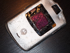(abluedude) Tags: phone destruction cellphone cell motorola razr destroyed cellularphone motorolarazr notmyrazr