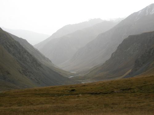 Kerege-Tash Pass Valley in Kyrgyzstan looking east