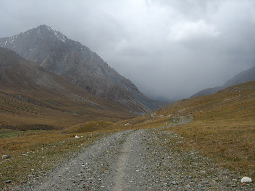 Heading into bad weather towards Archali settlement, Kyrgyzstan