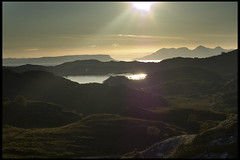 Loch Morar, Sound of Sleat, Isle of Rum (Alan Weir) Tags: road sunset sea sky mountain skye beach nature water grass landscape island scotland countryside boat highlands fishing sand isleofskye horizon scottish bank atlantic hills scot loch trout westhighlandway arisaig morar bracora