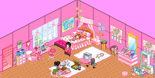 Fw: pretty pink bedroom by miniroom.