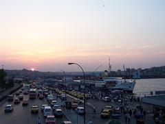 Gazi 090 (carteisus) Tags: city sunset port golden ship traffic taxi istanbul horn İstanbul vapur galata günbatımı trafik eminönü haliç İskele