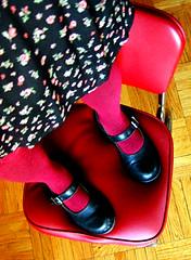Red! (Angela.) Tags: red feet socks chair shoes diner maryjanes docs drmartens overthekneesocks otks