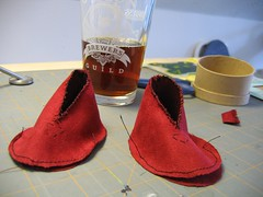 Bitty Booties - in progress (Mopped Top) Tags: red baby diy sewing newborn crafty booties microsuede