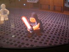 Darth Phil In Action (Kaptain Kobold) Tags: game starwars tv lego character jedi lightsaber ps2 screencapture sith legostarwars c3po sithlord kaptainkobold