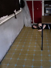 In the Spaces   Disconnected (Janet Leadbeater) Tags: portrait window kitchen topv111 table floor blind space room curtain disconnected cupboard wal purge
