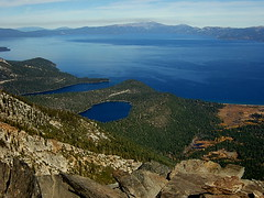 Cascade Lake entrance to Emerald Bay and Lake Tahoe from Mt Tallac (Marc Crumpler (Ilikethenight)) Tags: laketahoe f30 finepix fujifilm sierras mttallac fujipix mttallactrail
