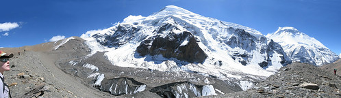 Tukuche and Dhaulagiri I from lateral moraine just below French Pass